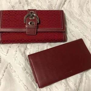 Coach Red Signature Checkbook Wallet